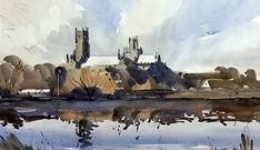Artists in Wiltshire Watercolor Architecture, Watercolor Landscape Paintings, Watercolor Artists, Watercolour Painting, Landscape Art, Painting & Drawing, Painting Corner, Ely Cathedral, Artist Life