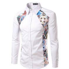 Mens Shirt,Haoricu Autumn Winter Men's Fashion Elegant Printing Long Sleeved T shirt Blouse For Work (XXL, White)