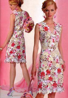 Makem' and pastem' flower appliqué dress with diagrams