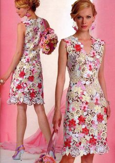 Makem' and pastem' flower appliqué dress with diagrams