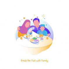Illustration ramadhan, break the fast wi. Family Illustration, Character Illustration, Ramadan Poster, Ramadan Background, Love Cartoon Couple, Ramadan Activities, Islamic Cartoon, Food Poster Design, Muslim Family