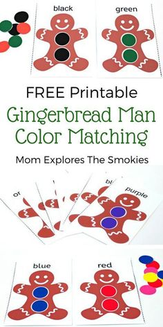 This fun and free printable gingerbread man color matching game is the perfect learning activity for toddlers and early preschoolers.