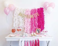 Ombre bachelorette party dessert table! See more party ideas at CatchMyParty.com!
