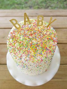 Glittery BABY Cake Topper 4 Pieces Baby Shower by MonroeAndCoShop