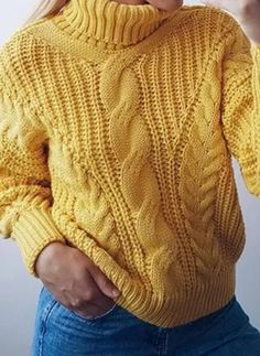 Cyber Monday High Neckline Solid Casual Loose Short Shift Sweaters - Fashion Trends of Winter Womens trendy sweaters 2020 Thick Sweaters, Baby Sweaters, Sweaters For Women, Casual Outfits, Fashion Outfits, Womens Fashion, Asymmetrical Sweater, Loose Shorts, Yellow Sweater