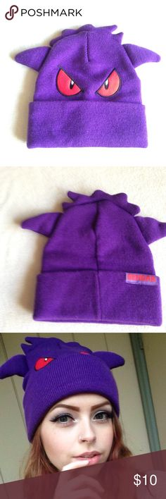 Pokemon Gengar Beanie Hat Originally bought from spirit halloween i have two one was only tried on for this photo and the other one my boyfriend tried on. New condition. Gengar from pokemon Pokemon Accessories Hats