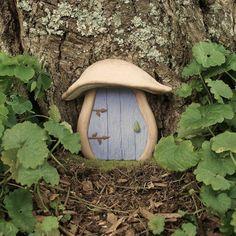 Garden Fairy Door Mushroom Blue FREE by EnchantedPumpkinArt, $25.00