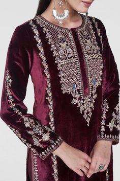 Designer Suits - Buy Laksh Suit for Women Online - - Anita Dongre Embroidery Suits Punjabi, Kurti Embroidery Design, Couture Embroidery, Embroidery Fashion, Embroidery Dress, Velvet Suit Design, Velvet Dress Designs, Dress Neck Designs, Kurta Designs Women