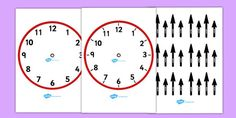 Blank Analogue Cut-Out Clocks (with hands) Clock Worksheets, Circle Time, Telling Time, Clocks, Hands, Learning, Watches, Studying