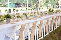 Coordinated Burlap Table Runners with Matching Chair Sashes
