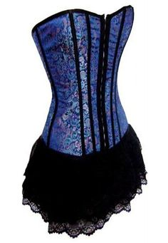 Blue corset with bottom black film skirt. If it were a little longer, you could just wear it out like this.