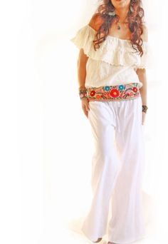 White Peace natural cotton wide leg lounge Mexican pants <--I need this outfit in my life!  love it!