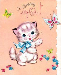 """vintage kitten """"Birthday Hi!"""""""