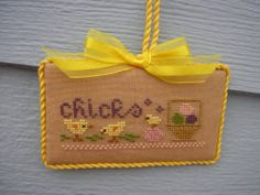 finished completed Lizzie Kate Chicks Easter Basket Eggs cross stitch ornament
