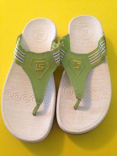 ba09fd8296a0 THERASHOE Womens Green White Platform Wedge Thong Toning Sandal Shoe 9M   TheraShoe  TStrap