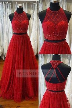 Prom Dress Princess, Two Piece A-line Jewel Sweep Train Open Back Red Prom Dress with Beading Appliques Shop ball gown prom dresses and gowns and become a princess on prom night. prom ball gowns in every size, from juniors to plus size. A Line Long Dress, Prom Dresses Two Piece, Elegant Prom Dresses, Pink Prom Dresses, A Line Prom Dresses, Pretty Dresses, Beautiful Dresses, Evening Dresses, Formal Dresses
