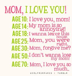 Mom I LOVE YOU! Every age #reflects our #thoughts especially when we @Mystical Thought are #vocal about it. Age 30 #Mommy #forgive me? And I don't want to #lose you