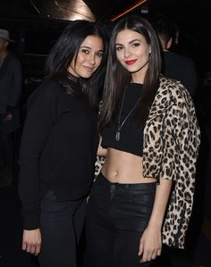 Actresses Emmanuelle Chriqui and Victoria Justice attend a private event hosted by Hudson at Hyde Staples Center for a Red Hot Chili Peppers concert...