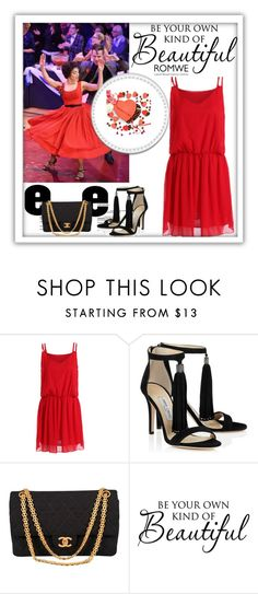 """ROMWE RED CHIFFON DRESS"" by narcisaaa ❤ liked on Polyvore featuring Chanel and romwe"