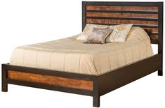 Solid wood Brown Maple bed frame, two-toned finish pictured and available, Amish handcrafted bedroom furniture, American made, five sizes available