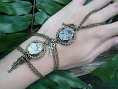 steampunk bracelet | movements steampunk slave bracelet gears watch keys locks steampunk ...