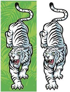 Иллюстрация белого тигра, от эскиза до готового результата