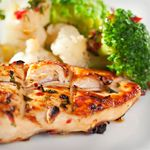 Grilled Chicken with Barbecue Sauce, Vegetables and Salad