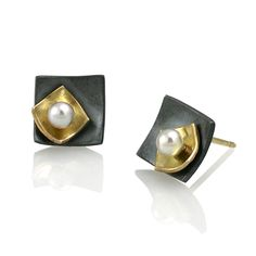 Moire Mini Square Stud Earrings - 18K Yellow Gold, Oxidized Sterling Silver, Akoya Pearl by Keiko Mita