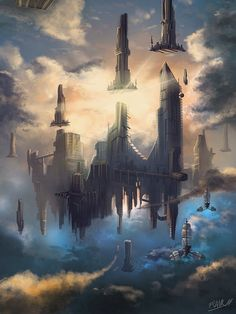 Fantasy Worlds by Frank Att concept art steampunk Fantasy City, Fantasy Places, Fantasy Kunst, Sci Fi Fantasy, Fantasy World, Fantasy Concept Art, Fantasy Artwork, Arte Tribal, Futuristic City