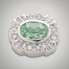 Sterling silver amethyst green and cubic zirconia bezel for Caerleon interchangeable jewelry. Designer:Goldman-Kolber $ 150.00 Item #: JCMKZR Call 870-863-8818 for personal consultation.