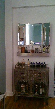 Vintage medical cabinet bar