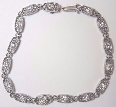 "Antique Vintage Deco Diamond Bracelet Platinum 7"" 1.40TW G-H VS2-SI1 EGL USA #Unbranded #Tennis"