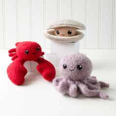 CraftyAlien Surf's Up! 1: Lobster, Octopus, Clam Felted Knit Amigurumi Pattern…
