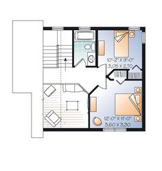 Second Floor Plan of Cabin   Traditional   House Plan 76149