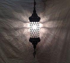 Moroccan lantern mosaic hanging pendant lamp glass chande...