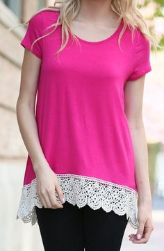 Lace Trim Tunic Top--Pink
