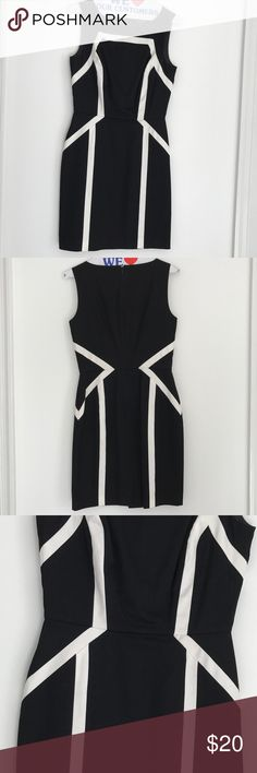 ON HOLD - Black and White Work Attire Dress Perfect office dress -hemmed to right above knee- I'm 5'3 and wore all dresses with heels to work at law firm and courthouse. White House Black Market runs big so if it's a 0, it fits more like a 2. White House Black Market Dresses Midi