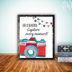 Quote Print Printable art wall decor, inspirational quotes poster camera photography quote - life is beautiful - INSTANT DOWNLOAD digital