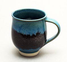 Wheelthrown Porcelain Mug with Turquoise and Temoku by hsinchuen, $35.00