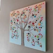 Make This Beautiful Button Tree For Your Home Tutorial Shows You Step By How To Turn An Ordinary Canvas Into Colorful Wall Art