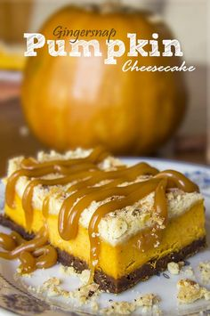 What could be more appropriate for a Halloween or Thanksgivin treat than Pumpkin Cheesecake Bars | www.cakescottage.com | #recipes #pumpkin #gingersnap