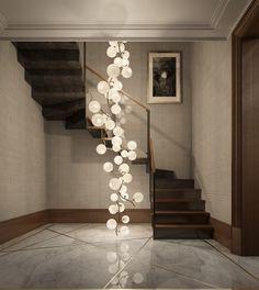 Contemporary Stairs Design 140 - Home Decor Interior Stairs, House Design, Lighting Design Interior, Lamp Design, Stairs, Stair Lighting, Contemporary Decor, Contemporary Stairs, Interior Lighting
