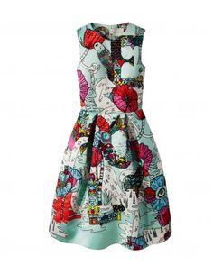 Poppies Mint Print Satin Dress