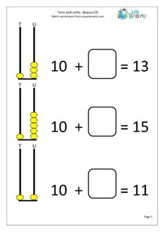 Abacus: tens and ones Tens And Ones Worksheets, Worksheets For Class 1, English Worksheets For Kindergarten, First Grade Math Worksheets, Kindergarten Coloring Pages, 1st Grade Math, Computer Activities For Kids, Math For Kids, Math Activities