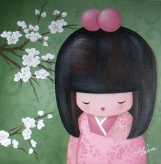 "KOKESHI - ""Atsuko du printemps"", peinture acrylique sur toile, 2011 - Myriam Lakraa Créations"