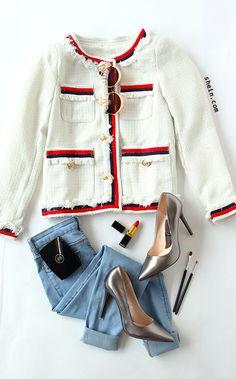 Elegant Chanel style-White Striped Trim Frayed Tweed Jacket. 40% off 1st order!