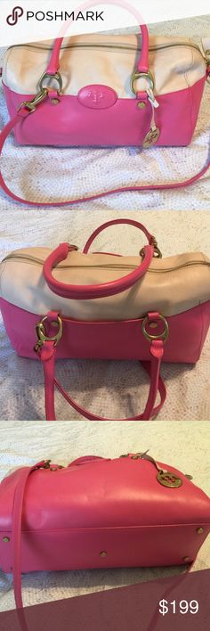 100% LEATHER  AUTH PRIX DE DRESSAGE PINK/TAN BAG MADE IN ITALY Great Condition, more pics by requested, 100% leather top quality, 14 inches in length, comes with original dust bag PRIX DE DRESSAGE Bags Shoulder Bags