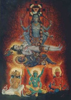 The Goddess Kali sitting on Lord Shiva Kali Goddess, Mother Goddess, Goddess Art, Om Namah Shivaya, Indian Gods, Indian Art, Mother Kali, Divine Mother, Tantra Art