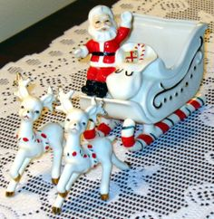 Vintage Christmas Santa Candy Cane Sleigh with Reindeer Possibly Lefton