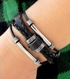 3 Circles Black Leather Bracelet With Metal tube charm bracelet by pier7craft